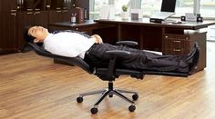 Every need a short nap at the office? This AnyChair will convert from an office chair to a bed in 30 seconds. No more locking the door and lying on the floor.  Hahah.