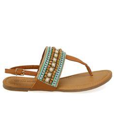 Kira-33 Tan Bohemian Beaded Tong Sandals
