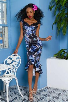 a70f2b258da Laura Byrnes Isabelle Dress in Blue Rose Satin - Dresses - Clothing XS -