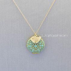 Gold Bird Necklace Antique Locket Necklace Blue by Uqfashion, $32.00