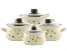 Komplet garnków emaliowanych 4 el. Pyza 64 kremowy Kuleczki Pots, Jar, Cooking, Decor, Kitchen, Decoration, Decorating, Cookware, Brewing