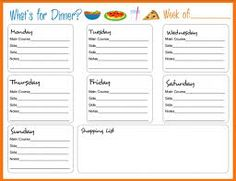 free monthly meal planner template