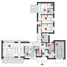 Modern Bungalow House, Modern House Design, Apartment Floor Plans, House Floor Plans, Villa Plan, Farmhouse Renovation, Cottage Exterior, Large Homes, Architecture Plan