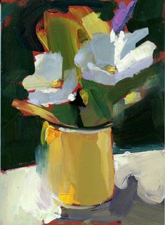 """1126 Contents"" - Original Fine Art for Sale - © Lisa Daria. Pot of flowers expressionistic feel"