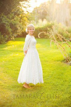 Lacy Tea-Length Dress | Modest Wedding Gown http://www.pinterest.com/modestbride/modest-wedding-gowns/