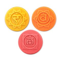 """The seven Chakras are a Hindu and Buddhist belief in the seven energy centers of the body, through which all life and energy flow. Help keep your emotional and physical health in balance with the lower three chakras featured in the lovely Chakras 2 Soap Mold:  solar plexus (confidence), sacral (new experiences), and root (foundation). <br><br>  Pair this with our Chakras 1 Soap Mold for a complete set of the seven chakras. <br><br>  Makes (3) 3 oz. Bars<br> Bar Dimensions: 1"""" x 2.75"""""""