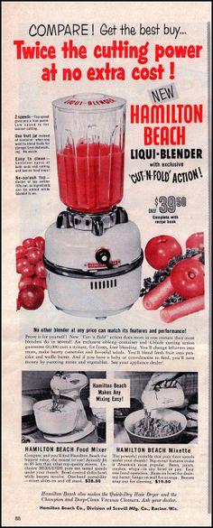 Hamilton Beach Liqui-Blender Vintage Ad from 1954 - 1950's Kitchen Print   Old kitchen appliance ad