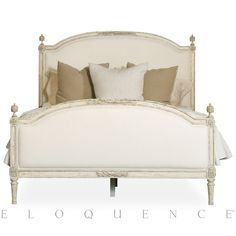 A true sleeping beauty, this Eloquence® French inspired bedframe with upholstered headboard and footboards has an elegant, Swedish Gustavian style arching frame which adds an alluring, sophisticated touch.  Perfect for traditional or Hollywood Regency inspired bedrooms where luxury and ambience are essential.