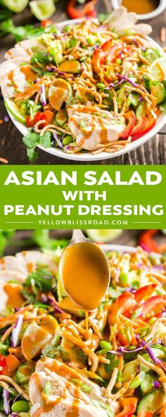 Asian Salad with Peanut Dressing is crisp, refreshing and full of delicious flavors- this is the perfect healthy main dish but can also be made to feel a crowd as a side dish or starter that will have people fighting for seconds! #salad #dinnerrecipes  #yellowblissroad
