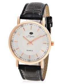Relógio de quartzo de escala dupla Jijia masculino com pulseira de couro