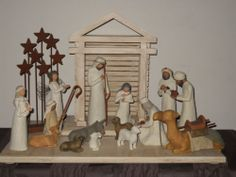Willow Tree Nativity with cream creche