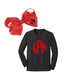 PERSONALIZED YOUTH LONG SLEEVE TEE & PERSONALIZED RED BOW SET