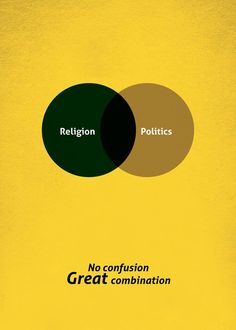 #bingo's  no confusion great confusion- points out the differences between religion and politics and great combination-is explicitly is depicted through a venn diagram, with Intersection as black!