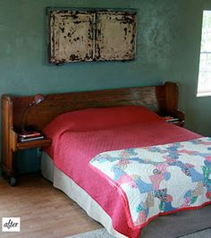 Furniture makeover- old church bench into a headboard! Vintage Industrial Furniture, Repurposed Furniture, Diy Furniture, Furniture Online, Furniture Makeover, Headboard Designs, Ideas Geniales, Headboards For Beds, Style Vintage