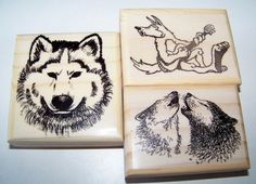 Lot of 3 New Mounted Rubber Stamps - Wolves