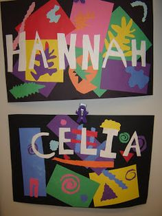 """3rd grade artists are studying the life and work of Henri Matisse . In his cut paper style, we created our own names! We """" drew with scissor..."""