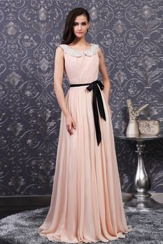 Round Collar Peach A-line Chiffon Evening Dress with Black Sash JSLD0018