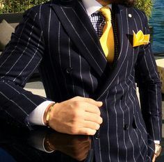 Pinstripes / Yellow Nice Suits, Men's Suits, Dress Suits, Men Dress, Gentleman Fashion, Gentleman Style, Mens Fashion Suits, Men's Fashion, Man Outfit