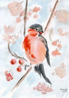 ORIGINAL watercolor painting Bullfinch Bird от belchishche на Etsy