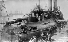 Russian battleship Tsesarevich, a pre-dreadnought battleship of the Imperial Russian Navy, docked, ca. 1915.