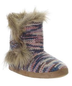 Gray Stripe Faux Fur Boot