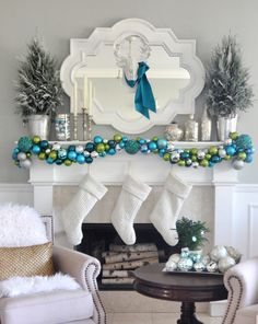 Mercury Glass Mantel Decorating and Holiday Cheer - Pottery Barn