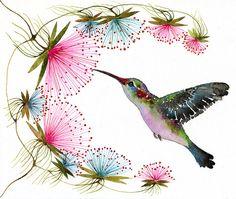 Hummingbird  tiny bird art print birds watercolor art by TevaKiwi, $10.00
