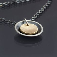Little Silver and Gold Cups Necklace  hammered 14k by lisahopkins