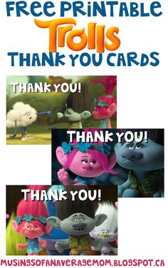 Free Printable Trolls Thank You Cards