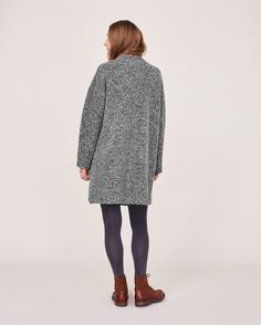 Women's Black Boiled Merino Wool Coat | TOAST