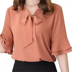 women chiffon blouse on sale at reasonable prices, buy Mara Alee Womens chiffon blouses white shirts pink yellow bell sleeve ladies short sleeve blouses summer tops blusas from mobile site on Aliexpress Now! Blouse Styles, Blouse Designs, Trendy Dresses, Short Dresses, Casual Skirt Outfits, Summer Outfits, White Shirts, Pink Shirts, Women's Summer Fashion