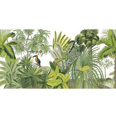 Hand Painted Tropical Rainforest Jungle Wallpaper Wall Mural, Palm Trees with Bird Jungle Forest Wall Mural, High Quality Jungle Mural Decor Garden Wallpaper, Flowers Wallpaper, Lion Wallpaper, Photo Wallpaper, Deco Jungle, Jungle Art, Graffiti Wall Art, Mural Wall Art, Victorian Flowers