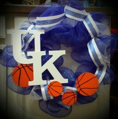 UK wreath I made for a friend!  The basketballs have clips on the back so that they can be removed.