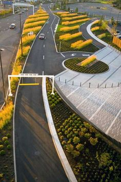 "Port of Portland Headquarters | Portland, OR | Mayer Reed Landscape Architecture | Dennis' 7 Dees Landscape Contractor | ""The landscaping was designed to help treat rainwater and reduce the amount of heat emitted by the building. In order to comply with the PDX Wildlife Hazard Management Plan, the landscaping had to be carefully selected in order to not attract birds.""  #civic #architecture #landscape #sustainable #LEED"