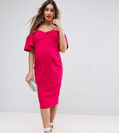 ASOS Maternity Crepe Twist Front Midi Dress with Trumpet Sleeve.#ad
