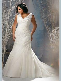 White Mermaid Lace Tulle Plus Size Wedding Dress