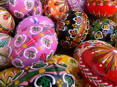 Hand painted Easter eggs. Easter Market, Bratislava, Slovakia. Yep. they are real eggs.