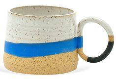 Blue & Black Ring-Handle Mug, Tactile Matter