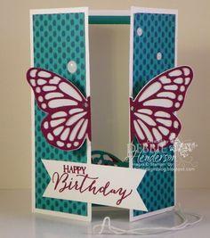Double Z Butterfly Pop-Up Card Fold YouTube Video. Debbie Henderson, Debbie's Designs.