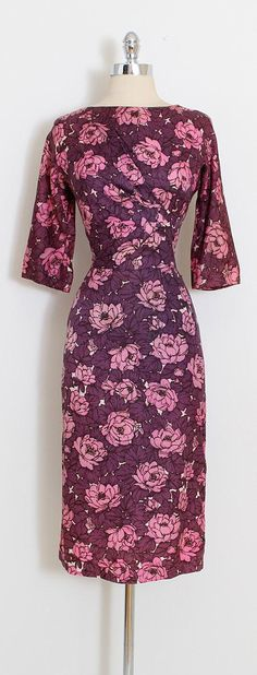 ➳ vintage 1950s dress * beautiful purple rose print rayon * flattering ruched waist * cropped sleeves * metal back zipper * by Henry Lee condition | excellent fits like small length 44 bodice length 17 bust 36-38 waist 27 hips 39 ➳ shop http://www.etsy.com/shop/millstreetvintage?ref=si_shop ➳ shop policies http://www.etsy.com/shop/millstreetvintage/policy twitter | MillStVintage facebook | millstreetvintage instagram | millstreetvintag...