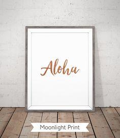 Aloha Strand Poster zum ausdrucken, Kupfer, Hawaii Wandkunst, Kupfer druckbare, bedruckbar, Hawaii Print, Typografie druckbare, Kupfer Gold Print