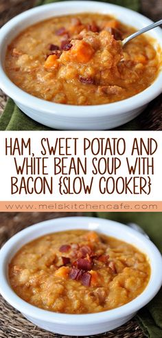 This slow cooker Ham, Sweet Potato and White Bean Soup with Bacon is reminiscent of Bean and Bacon Soup only a million times better.