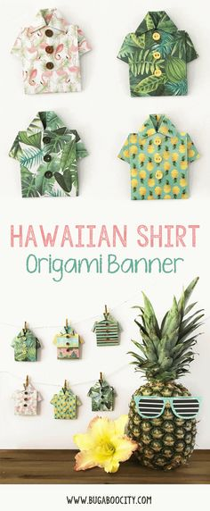 Origami Hawaiian Shirt Paper Banner Tutorial!