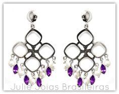 Brincos em prata 950, pérola e ametista (950 silver dangle earrings with pearl and amethyst)