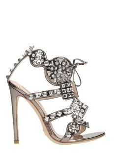 GIANNI RENZI | Gianni Renzi Gianni Renzi Laminated Silver Leather Studs Sandals #Shoes #Sandals #GIANNI RENZI