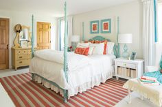 This gracious guest bedroom designed by Mary Maloney and Carol Mokler of Bee's Knees Design out of Hopkinton, Massachusetts photographed here by Kyle Caldwell is filled with charm! The design… Bedroom Carpet, Home Bedroom, Girls Bedroom, Bedroom Size, Master Bedroom, Residential Interior Design, Luxury Interior Design, Balkon Design, House Of Turquoise