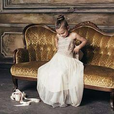 Girl ballerina wearing her mother's dress