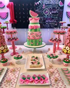 Juicy and delicious & Love all the details of this Watermelon Birthday birthday girl party ideas. More in my web site Juicy and delicious & Love all the details of this Watermelon Birthday Pa. Juicy and . 18th Birthday Party Themes, First Birthday Cakes, Girl First Birthday, First Birthday Parties, Birthday Party Decorations, First Birthdays, Birthday Themes For Girls, 1 Year Birthday Party Ideas, Watermelon Party Decorations