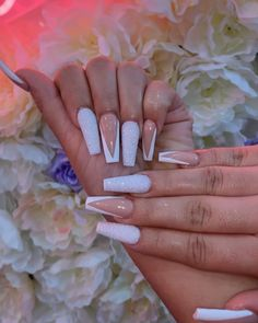 Gorgeous nails ref number 3080984056 - look at this eye-catching, vibrant design. Gorgeous nails ref number 3080984056 - look at this eye-catching, vibrant design tip seriously. White Tip Acrylic Nails, Acrylic Nail Designs, White Tip Nail Designs, Drip Nails, Aycrlic Nails, Nail Swag, Gorgeous Nails, Pretty Nails, Coffin Nails Long