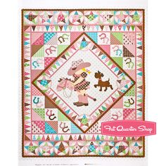 Giddy Up Pink and Brown Baby Cowgirl Quilt Panel SKU# 3523-21 - Fat Quarter Shop
